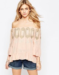 Hazel Embroidered Neck Blouse Blush Pink