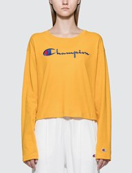 Champion Reverse Weave Big Script Long Sleeve Cropped T Shirt Yellow