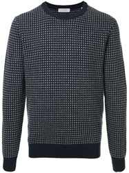 Gieves And Hawkes Patterned Sweater Cashmere Wool Blue