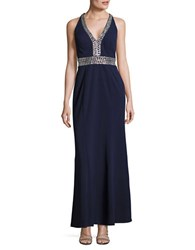 Decode 1.8 Embellished Sleeveless Gown Navy