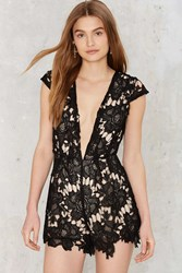Take It To Heart Lace Romper Black