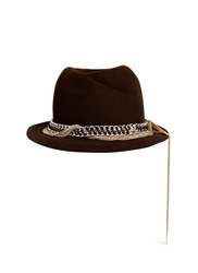 Maison Michel 'Mini Virginie' Swirl Pinch Leather Chain Fur Felt Trilby Hat