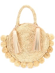Loeffler Randall Pompom Trim Circular Tote Nude And Neutrals