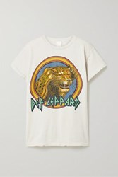Madeworn Def Leppard Distressed Printed Cotton Jersey T Shirt White