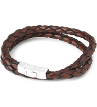 Tateossian Double Wrap Scoubidou Leather Bracelet With Silver Clasp Brown