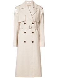 Adeam Deconstructed Quilted Trench Silk Polyester Polyurethane Wool Nude Neutrals