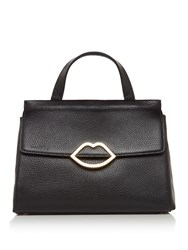 Lulu Guinness Gertie Small Grainy Leather Tote Black