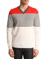 Dunhill Red Navy And White Striped V Neck Sweater