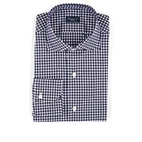 Finamore Gingham Cotton Poplin Dress Shirt Navy
