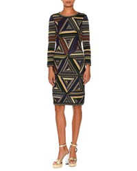 Missoni Patchwork Knit Long Sleeve Dress Multi Multi Pattern