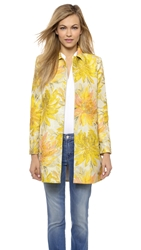 Alice Olivia Laney A Line Coat Yellow Multi