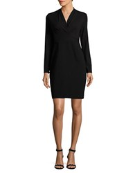 Elie Tahari Mock Wrap Long Sleeved Dress Black