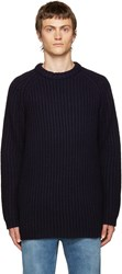 Acne Studios Navy Cable Knit Sweater