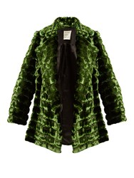 Maison Rabih Kayrouz Grizzly Quilted Faux Fur Coat Dark Green