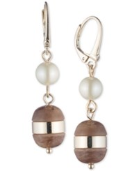 Dkny Gold Tone Imitation Pearl And Horn Double Drop Earrings Created For Macy's