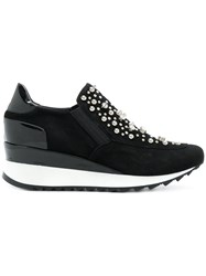 Loriblu Crystal Embellished Wedge Sneakers Suede Rubber Leather Black