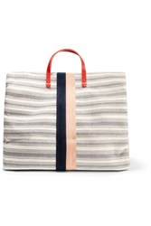 Clare V. V Simple Textured Leather Trimmed Striped Canvas Tote Cream