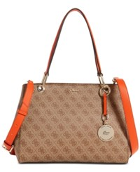 Guess Jacqui Medium Satchel Brown Multi