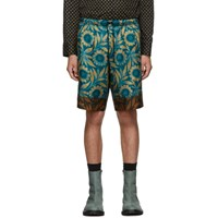 Dries Van Noten Blue And Brown Piper Shorts