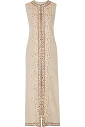 Alice Olivia Estee Embroidered Linen Vest Nude