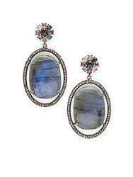 Bavna Tourmaline Labradorite And Sterling Silver Drop Earrings