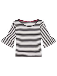 Gerard Darel Teddy Striped T Shirt With Ruffle Sleeve Beige Navy