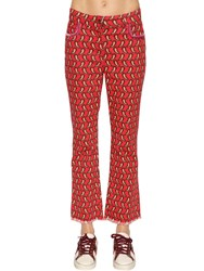 Etro Printed Cotton Denim Cropped Jeans Red