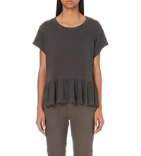 The Great Frilled Hem Cotton Jersey T Shirt Washed Black