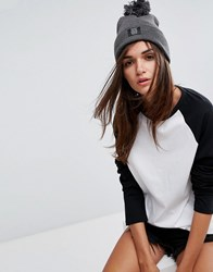 Dickies Pom Beanie In Grey Dark Grey Melange
