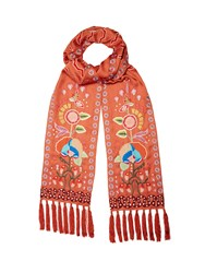 Temperley London Lysander Floral Embroidered Satin Scarf