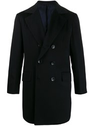 Kiton Cashmere Double Breasted Coat Blue