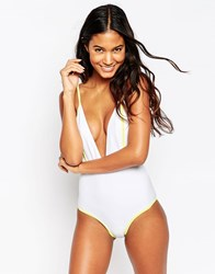 Oh My Love Contrast Plunge Swimsuit White