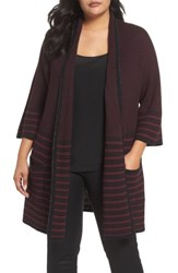 Foxcroft Plus Size Women's Penelope Stripe Cardigan Port