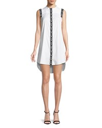 Milly Foral Applique Sleeveless Shirt Dress White