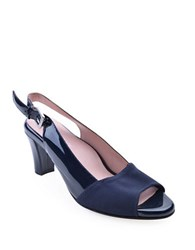 Taryn Rose Fortula Patent Leather Slingback Heels Navy Blue