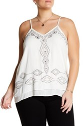 Angie V Neck Beaded Chiffon Tank Plus Size White