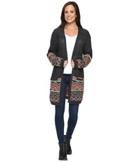 Rock And Roll Cowgirl Long Sleeve Cardigan 46 8226 Charcoal Women's Sweater Gray