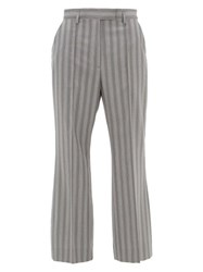 Acne Studios Patrina High Rise Pinstriped Wool Trousers Grey