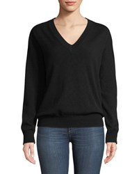 Tomas Maier V Neck Long Sleeve Cashmere Pullover Sweater Black