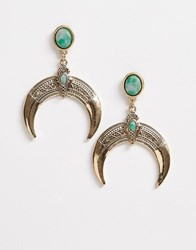 Reclaimed Vintage Inspired Horn Earrings With Stone Detail Gold