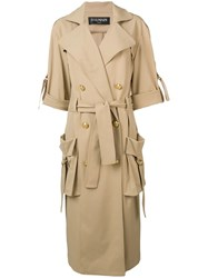 Balmain Double Breasted Trench Coat Brown