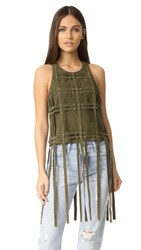 Haute Hippie Cropped Suede Tank Military