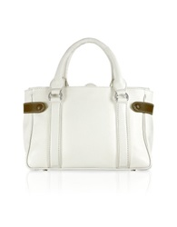 Buti Side Snaps Calf Leather Satchel Bag White