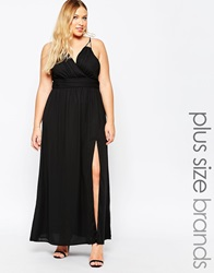 Truly You Wrap Front Maxi Dress Black