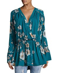 Free People Floral Surplice Blouse Turquoise