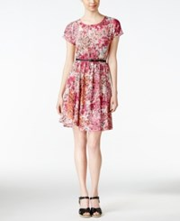 Ny Collection Petite Floral Print A Line Dress Peach Teatime