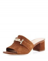 Tod's Suede Double T Mule Pump Brown