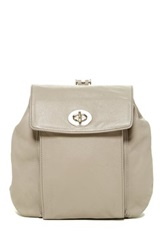 Perlina Turn Lock Leather Backpack Gray