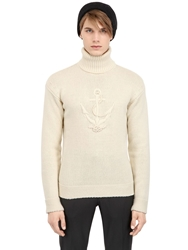 Faconnable Turtleneck Wool Blend Sweater Ivory
