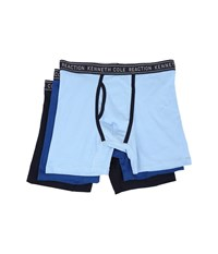 Kenneth Cole Reaction 3 Pack Boxer Brief Cotton Stretch Light Blue Limoge Blue Navy Men's Underwear
